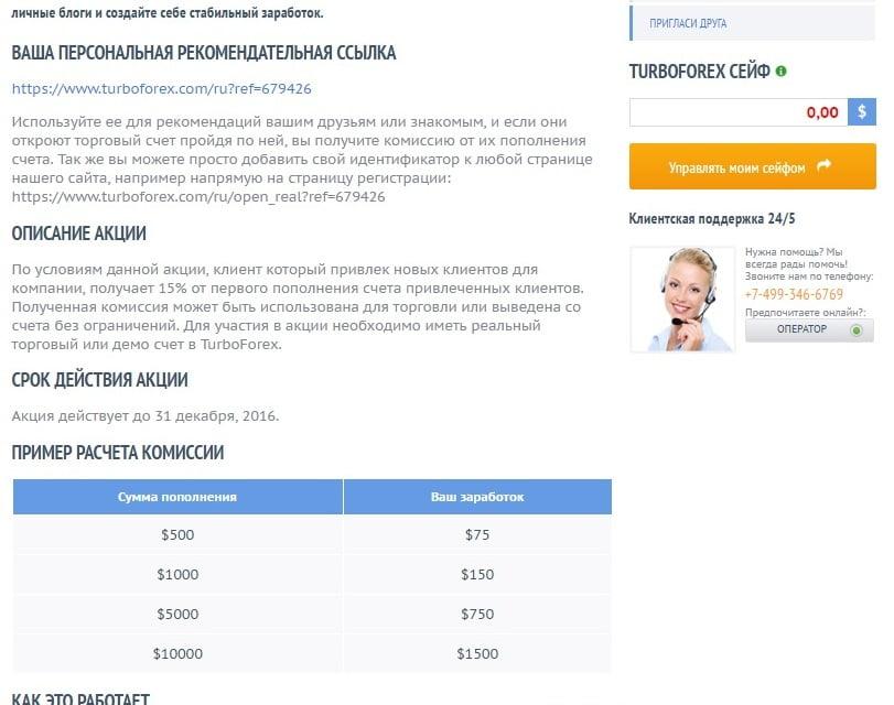 Партнерская программа от «Турбофорекс»