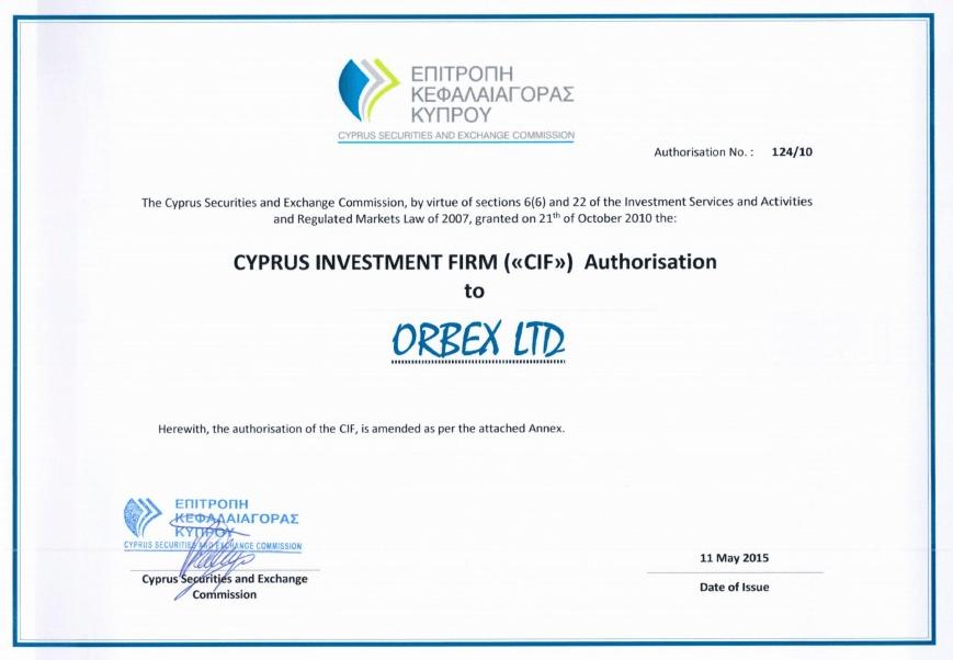 лицензия Кипрской комиссии по ценным бумагам